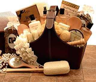 Spa Gift Basket of Relaxation Bath and Body in a warm Vanilla scent - Perfect Spa basket just for her