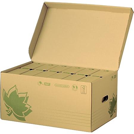 Fast Nature Line Caisse à Documents en Carton 52 x 35 x 26 cm + 6 Boîtes Archives Dos 80cm Ecru