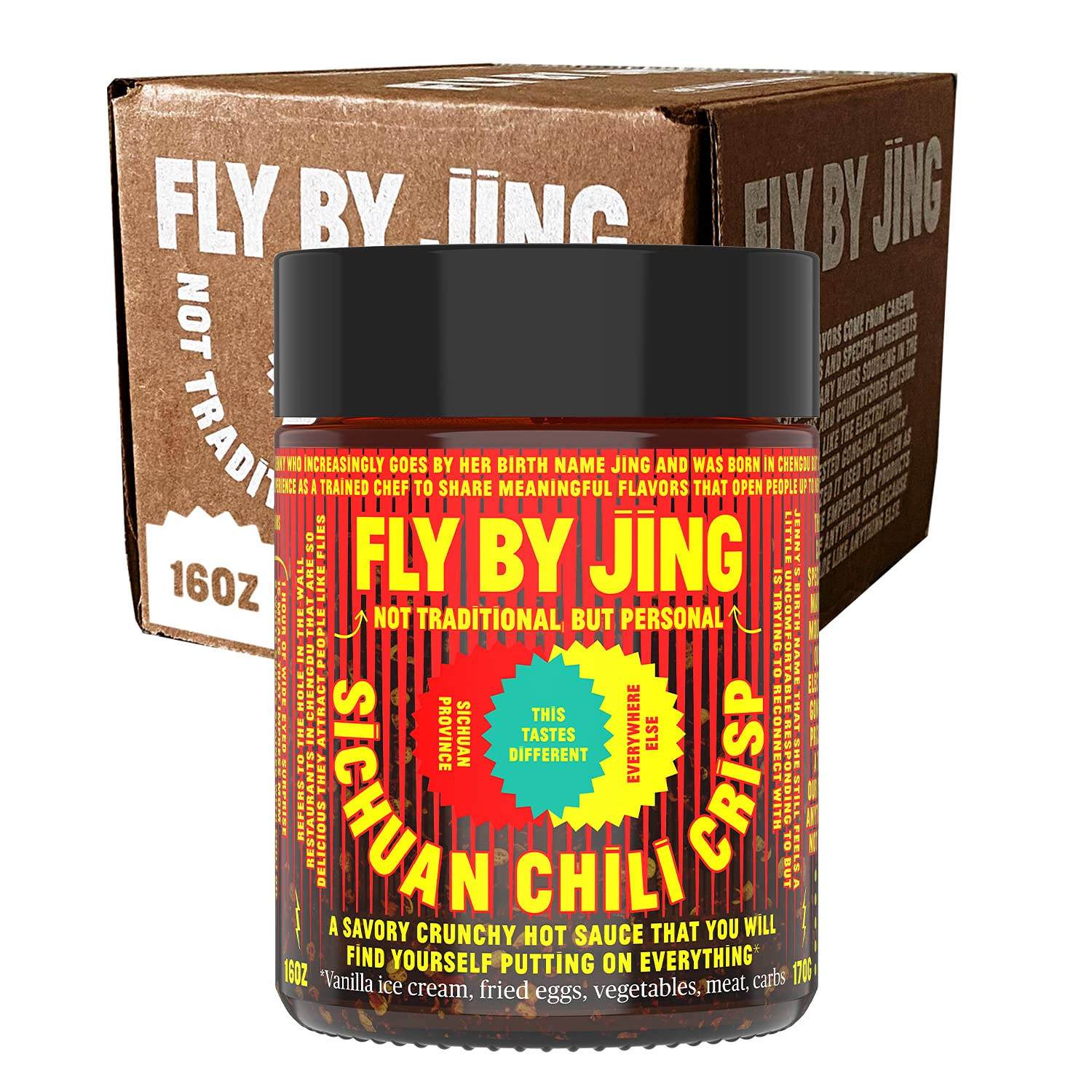 FLY BY JING Sichuan Chili Crisp 16oz XL BIG BOI | Deliciously Savory, Umami, Spicy, Tingly, Crispy All Natural Vegan Gluten-Free | Hot Chili Oil Sauce with Sichuan Pepper, Good on Everything