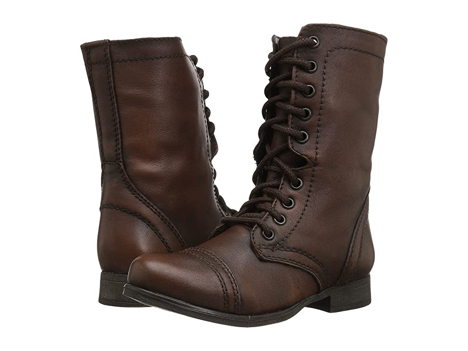 Vintage Boots- Winter Rain and Snow Boots Steve Madden Troopa Combat Boot Brown Leather Womens Lace up casual Shoes $79.95 AT vintagedancer.com