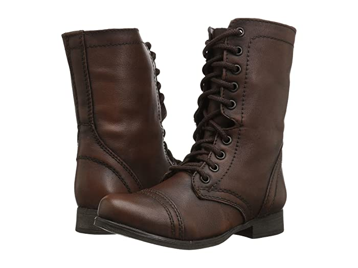 Retro Vintage Style Wide Shoes Steve Madden Troopa Combat Boot Brown Leather Womens Lace up casual Shoes $79.95 AT vintagedancer.com