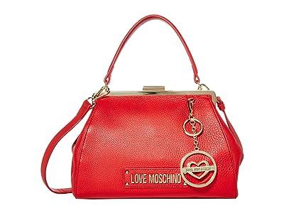 LOVE Moschino Love Logo Clasp Handbag (Red Natural Grain Calf) Handbags