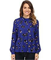 NYDJ Petite - Petite Printed Long Sleeve Mock Neck Blouse