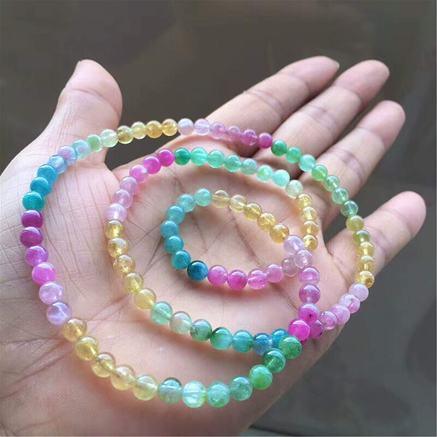 5.2mm Natural Colorful Tourmaline Gemstone Th Crystal All items free Raleigh Mall shipping Round Bead