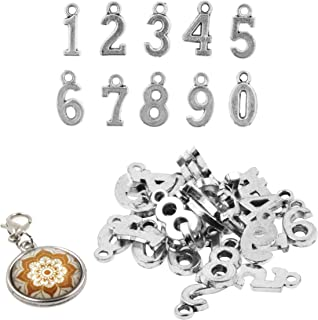Mandala Crafts Number Charms, Loose Beads for Jewelry Making, Wine Bottle Charms, Keychains (0.7 Inch, 3 Sets, 30 PCs, Silver Color)