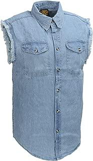 Men's Sleeveless Button Front Denim Shirt w/Chest Pockets