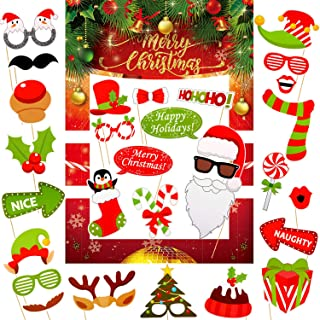 33 Pieces Christmas Photo Booth Props Frame DIY Kit Xmas Photo Props Accessories for Christmas Theme Party Favors