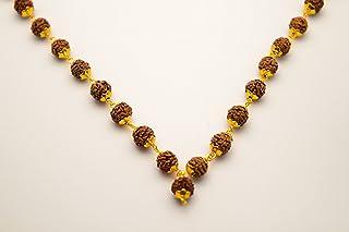 Shree shyam gems and jewellery Brown Brass 5 Mukhi 6 mm Rudraksha Golden Cap Mala for Men and Women