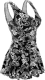 AONTUS Women's Plus Size Swimsuits Tummy Control One Piece Swim Dresses Bathing Suit (Black Flower, XXXX-Large(US Size:24W-26W))