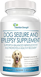 Nutrition Strength Dog Seizure Support, Supplement for Epilepsy in Dogs, with Organic Valerian Root, Chamomile and Blue Vervain, Plus L-Tryptophan Dog Stress and Anxiety Aid, 120 Chewable Tablets