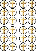 Cross Christening/Baptism Edible PREMIUM THICKNESS SWEETENED VANILLA, Wafer Rice Paper Cupcake Toppers/Decorations