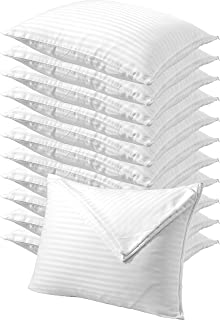 Niagara Sleep Solution Pillow Protectors King 12 Pack Zippered Pillowcases White Covers Premium High 200 300 Thread Count Cotton Sateen Set of Dozen Hotel Quality