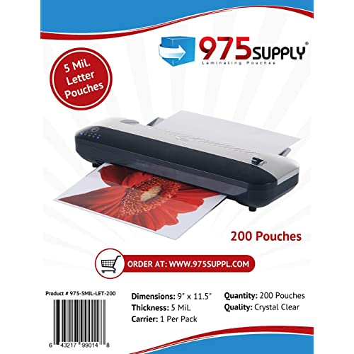 975 Supply 5 Mil Clear Letter Size Thermal Laminating Pouches, 9 X 11.5 inches, 200 Pouches