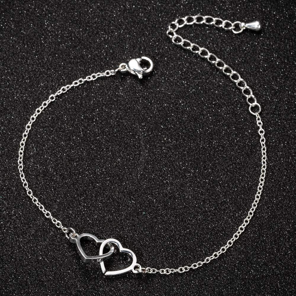 The Woos Double Heart Kont Round Circle Chain Friendship Bracelet Two Interlocking Infinity Love Charm Bracelets Adjustable Hollow Heart Interlock Bracelet Bangle for Best Friends Mother Jewelry