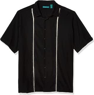 Men's Short Sleeve Houndstooth-Print Shirt with Insert Panels