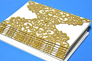 Laser Cut 24 Pieces Gold-Ivory-Silver Hollow Rose Invitation Cards with Printable Inner Sheet, Envelopes for Wedding, Quinceaneras, Baby Shower (Gold)