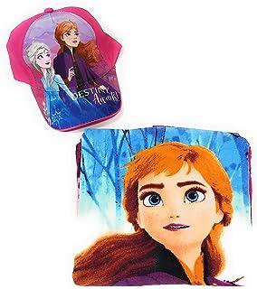 New Import Poncho Frozen Toalla para Playa o Piscina + Gorra Frozen Elsa y Anna para niñas (Fucsia)