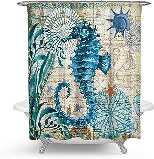 ECONIE Sea Horse Shower Curtain Ocean Animal Waterproof Polyester Blackout Draperies Window Solid Grommet with 12 Hooks for Bedroom Living Bathroom 71 x 71(10)