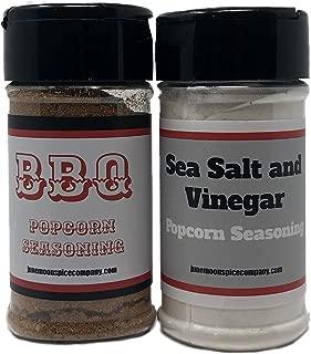 Premium   POPCORN SEASONING Variety 2 Pack   British Sea Salt & Vinegar Popcorn Seasoning   BBQ Popcorn Seasoning   Calorie Free   Fat Free   Saturated Fat Free   Cholesterol Free   Sugar Free