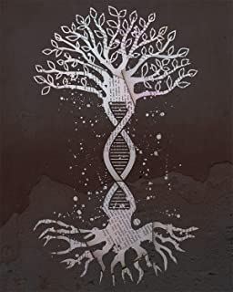 Tree With DNA Structure Roots- 8x10 Unframed Geneology Wall Decor Art Print On A Brown Background - Great Gift For A Relat...
