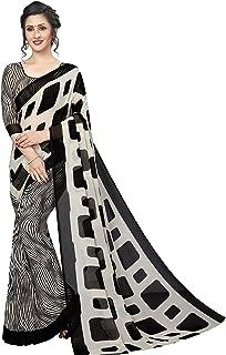 GoSriKi georgette with blouse piece Saree (MILKY BAR WHITE_ Black_ Free Size)