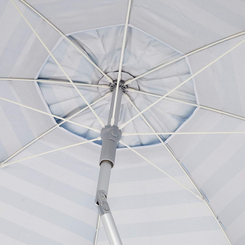 Basics Beach Umbrella Light Blue Striped