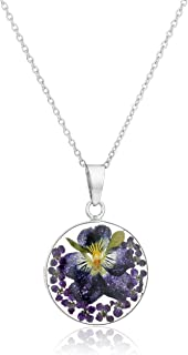 Sterling Silver Pressed Flower Round Pendant Necklace, 16