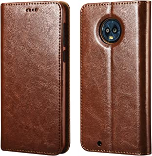 icarercase Moto G6 Case, Vegan Leather Moto G6 Wallet Case/Flip Case Protective Shockproof Case Cover with Credit Card Slots for Moto G6 Leather Case(Brown)
