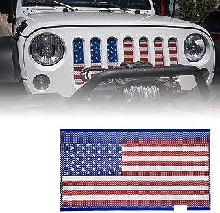 Xprite Steel Grill Insert Mesh Matte Mesh Grille Grid American Flag for 2007-2018 Jeep Wrangler JK JKU