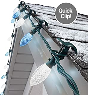 NOMA C9 LED Quick Clip Christmas Lights | Simple Built-in Clip-On Outdoor String Lights | Clear Pure White & Blue Bulbs | UL Certified | 25 Light Set | 16.8 Foot Strand
