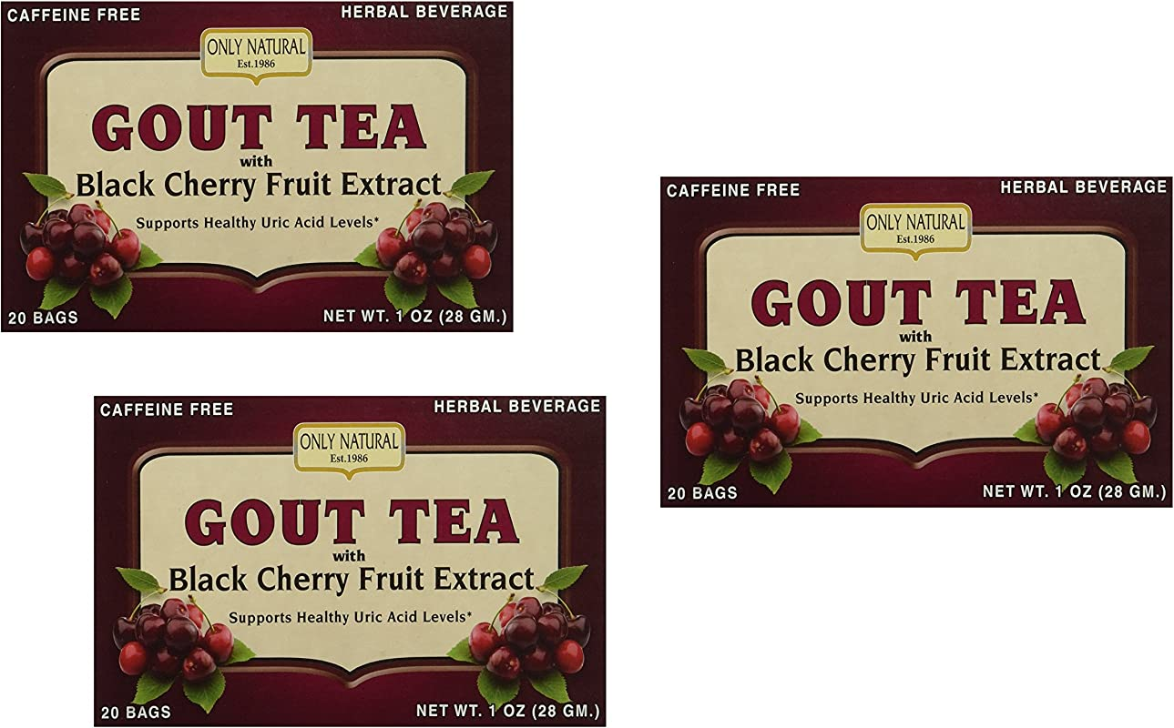 3 Pack Only Natural Gout Tea Black Cherry Fruit Extract Bags 20 Count