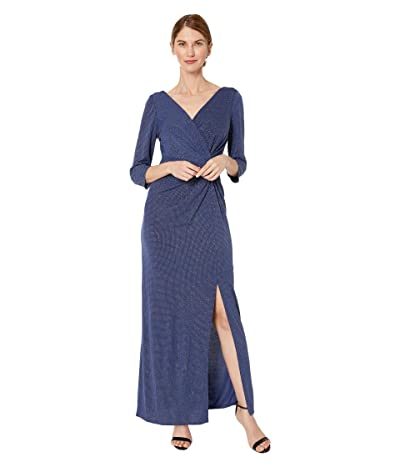 Alex Evenings Petite Long Metallic Knit Surplice Neckline Dress (Evening Blue) Women