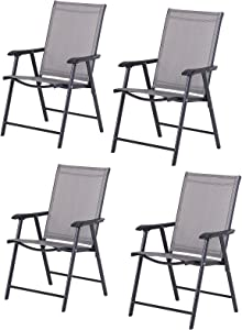 Outsunny Folding Outdoor Patio Chairs Set of 4 Stackable Portable for Deck, Garden, Camping and Travel