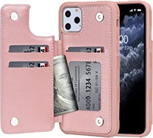 Arae Case for iPhone 11 pro PU Leather Wallet Case with Card Pockets Back Flip Cover for iPhone 11 pro 5.8 inch 2019 (rosegold)