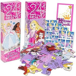 Disney Princess Puzzle Activity Set ~ 4 Pc Bundle with Princess 24-Piece Jigsaw Puzzles for Girls, Kids, Cinderella Sticke...