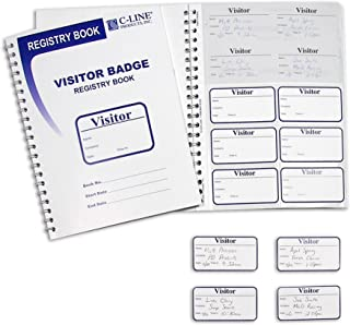 C-Line Visitor Badges with Registry Log, 150 Badges per Book, 1 Registry (97030)