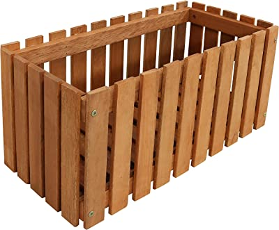 Sunnydaze Meranti Wood Picket Style Planter Box - Outdoor Wooden Decorative Holder with Fence Design for Flowers, Herbs, Vegetables and Plants - Ideal for Patio and Porch - 24-Inch