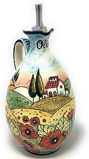 CERAMICHE D'ARTE PARRINI- Ceramica italiana artistica, ampolla olio decorazione paesaggio papaveri, dipinto a mano, made i...