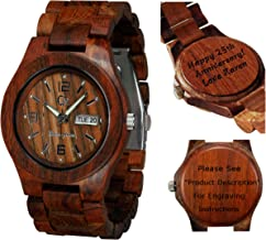 Personalized Engraving Available for Non Prime Orders- Wooden Watch-Wood Watch-Wood Engraving-Custom Watch-Christmas Gift-Wedding Gift-Anniversary Gift -Unisex- Men's -Women's Style Alpha I Rose Wood