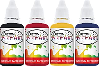 4 Color Airbrush Temporary Tattoo Ink Kit Black, Red, Blue, Yellow