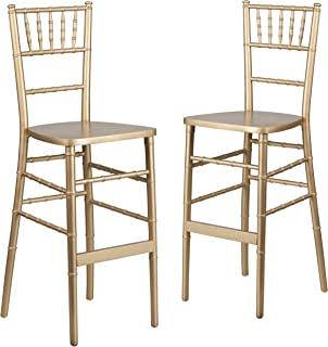 Flash Furniture 2 Pk. HERCULES Series Gold Wood Chiavari Barstool