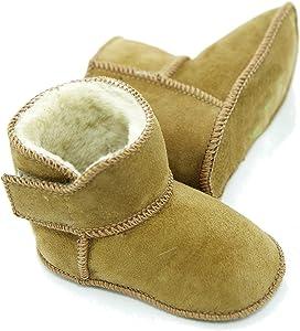 DX-Exclusive wearADB-0002 - Zapatos de piel de cordero para bebé, botas, cierre de velcro, diseño de ganchillo
