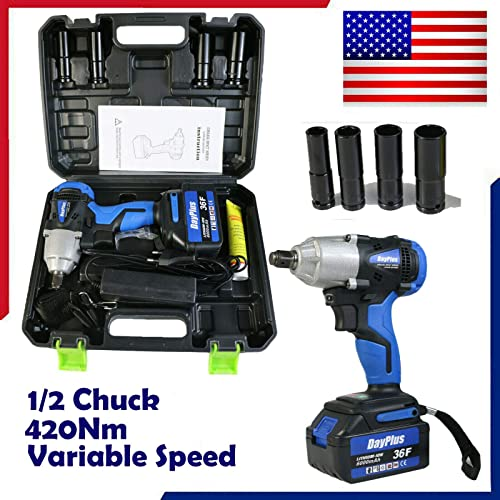 high quality Electric high quality Cordless Impact Wrench 1/2 Inch Kit new arrival with 4 Sockets 6.0 AH Li-ion Battery Fast Charger and Carry Case, 420Nm Torque LED Light Non-Slip Hand Grip Adjustable Speed Compact Portable Tool Set online sale