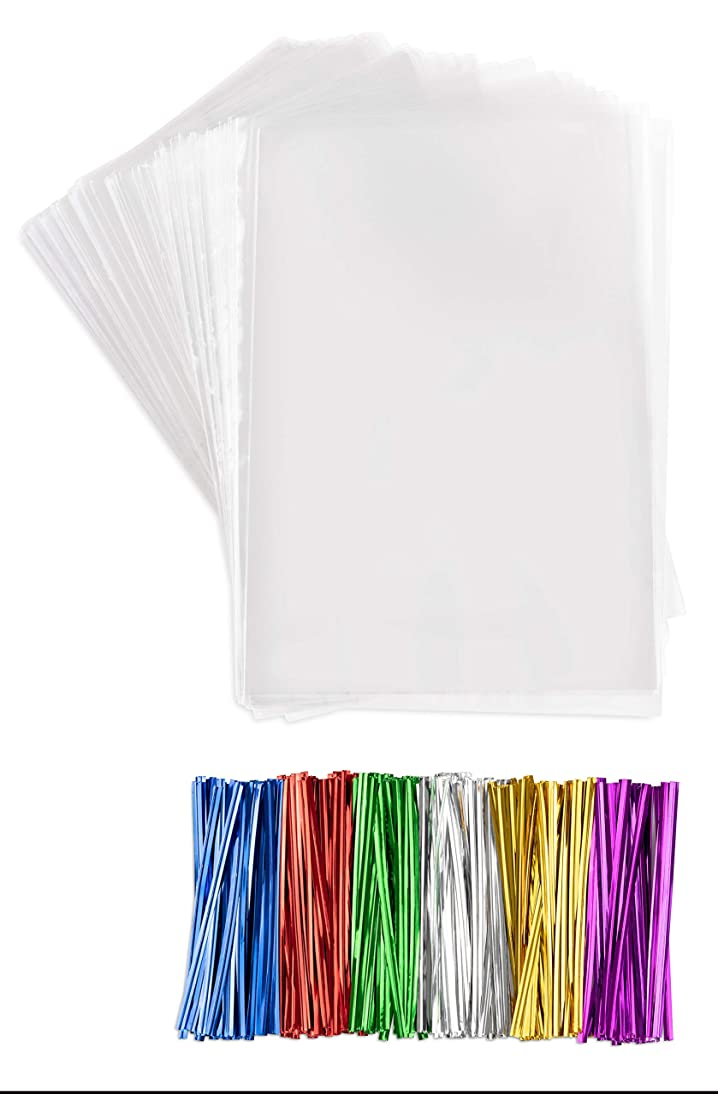 Clear Plastic Cellophane Bags With twist ties Cello Bags For Candies Nuts Small Gifts (200, 4