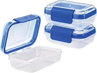 SnapLock by Progressive Rectangular 1-Cup, Blue - Set of 3 SNL-1006SETB Easy-To-Open, Leak-Proof Silicone Seal, Snap-Off Lid, Stackable, BPA FREE