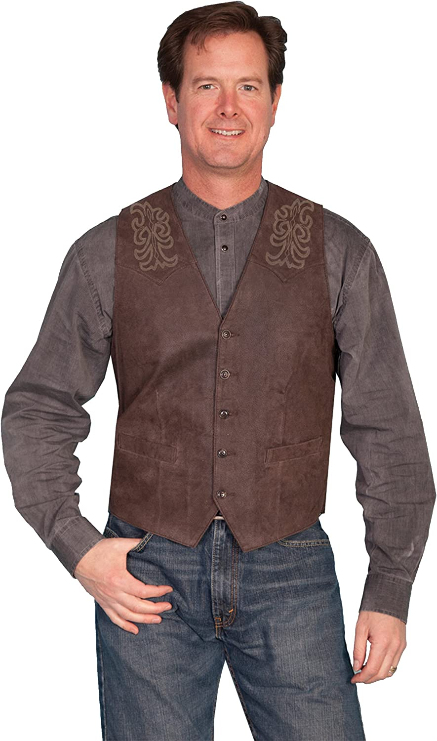 Scully Mens Frontier Leather Vest - Brown