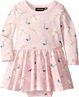 Unicorn Ribbons Long Sleeve Waisted Dress (Infant)