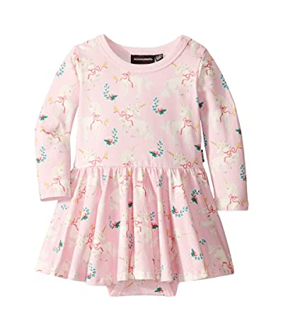 Rock Your Baby Unicorn Ribbons Long Sleeve Waisted Dress (Infant) (Pink) Girl