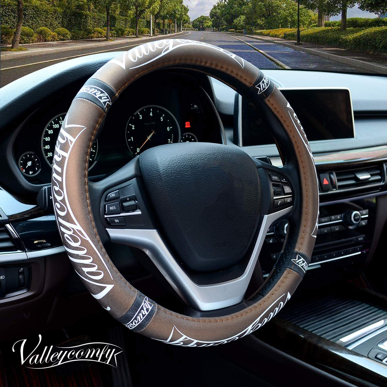 Valleycomfy Steering Wheel Covers Universal 15 inch Breathable Anti Slip /& Odor Free with Pu Leather for Car Truck SUV
