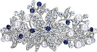 EVER FAITH Pasador de pelo con perlas de imitación de cristal austriaco, color plateado